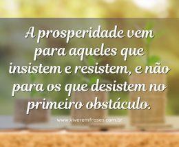 A prosperidade vem para aqueles que insistem e resistem, e não para os que desistem no primeiro obstáculo.