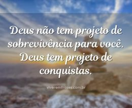 Deus não tem projeto de sobrevivência para você. Deus tem projeto de conquistas.