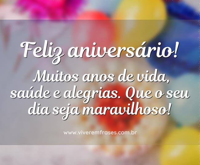 Feliz aniversário muitos anos de vida