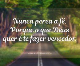 Nunca perca a fé. Porque o que Deus quer é te fazer vencedor.