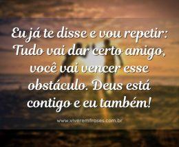 Eu já te disse e vou repetir: Tudo vai dar certo amigo, você vai vencer esse obstáculo. Deus está contigo e eu também!