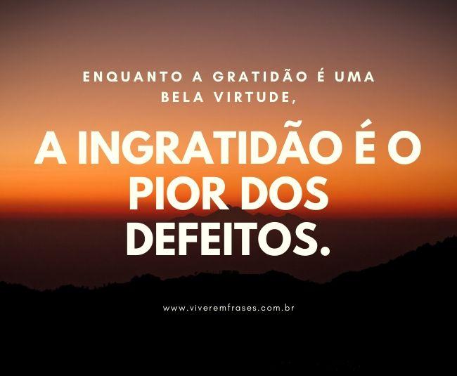 Frases tumblr para pessoas ingratas e mal agradecidas. Texto na imagem: Enquanto a gratidão é uma bela virtude, a ingratidão é o pior dos defeitos.